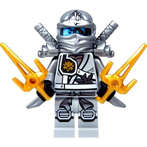 LEGO Ninjago: Minifigur Titanium Zane (silberner Ninja) mit Schulterrüstung, zwei Katanas (Schwerter) und Saigabeln NEUHEIT 2015 (Lego Ninjago Minifigur Zane)