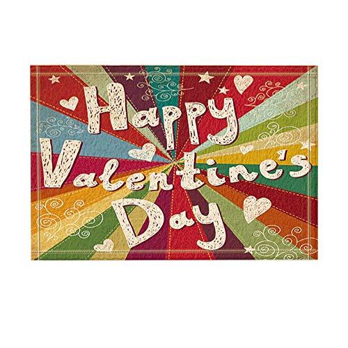 JoneAJ Liebe Dekor Bunte Happy Valentine'Day rutschfeste Fußmatte Boden Eingänge Indoor-Haustürmatte Kinder Badematte 40X60cm Bad-Accessoires (Valentines Day Dekor)