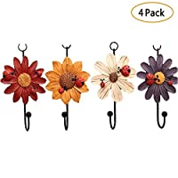 Laat Home Storage Hooks Ladybird with Daisy Flowers Resin Wall Hooks Hanger Clothes Hook, Towel Hook, Set of 4-Random Color