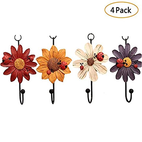 Laat Home Storage Hooks Ladybird with Daisy Flowers Resin Wall Hooks Hanger Clothes Hook, Towel Hook, Set of 4-Random