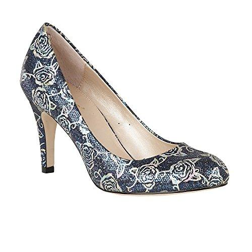 Lotus Delphinium Navy Floral Print Court Shoes 7