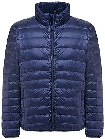Mochoose Doudoune Ultra Légère Veste Manteau Parka Blouson Zippée Manches Longues Hiver pour Homme(Bleu