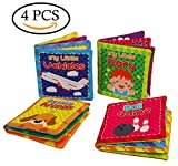 Quner livres de bébé en tissu jouet enfant Jouets éducatifs pour enfants lot de 4