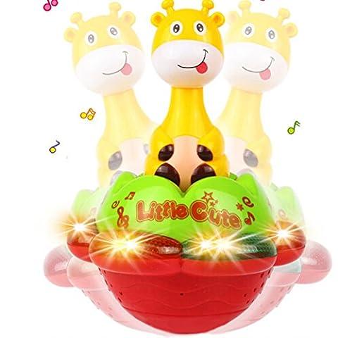 Cartoon Poussah Design de Giraffe Coloré Musical Projection de Lumière Roly Poly Cadeau pour Bébé Enfant