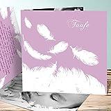 Taufkarte Einladung, Feder 15 Karten, Quadratische Klappkarte 145x145 inkl. weiße Umschläge, Lila