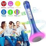 Bluetooth Karaoke Mikrofon, Portable Drahtlose Handmikrofon Lautsprecher Player Kabellos Mikrofon, Mikrofon Kinder für KTV Musik singen spielen, Unterstützung iPhone Android IOS Smartphone - (Blau)
