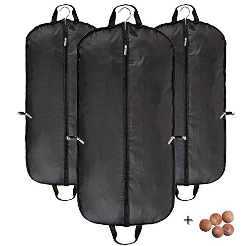 Atmungsaktiv Kleidersack Reise Anzug Kleidung umfasst die Tragetaschen schwarz für herren von abimars–Staubfrei, mit Griffen, 3Stück und 5x Zedernholz Bälle, schwarz, Large