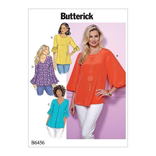 Butterick Schnittmuster 6456Tulip & Ruffle Sleeve Tops Le Top Tulip