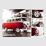 Kunstdruck Poster - VW Bus Bulli Details Split Screen 61 x 91,50 cm, viele Rahmenfarben zur Auswahl, hier ohne Rahmen