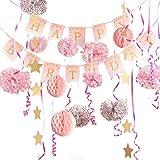 Easy Joy Decoration Anniversaire Fille Rose et Or Pompon Boule à Suspendre Etoile Guirlande Ruban Decoration + Happy Birthday Banner Rose pour Fille - 16pcs