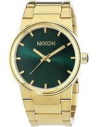 Nixon Herren-Armbanduhr XL Cannon Gold Green Sunray Analog Quarz Edelstahl A1601919-00