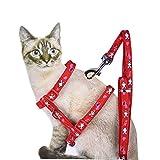 verstellbar Cute Pet Kleine Katze Kätzchen Geschirr Nylon Kaninchen/Pfote Print Leine Set mit Schnalle (Random Pattern)