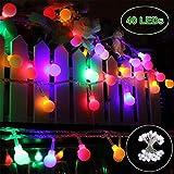 40 LED Lichterkette Kugel Lichterkette bunt 8 Modi Globe Deko Glühbirne IP44 Wasserdicht Batterienbetriebene Lichterkette Außen Innen Weinachtsbeleuchtung für Party Garten, Hochzeit, Ferien,Rasen