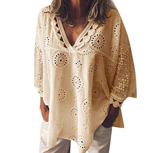 Aiserkly Frauen-halbe Hülsen-Baumwollleinen höhlen heraus Spitze-Patchwork-T-Shirt Blusen-Oberseiten aus Gelb M