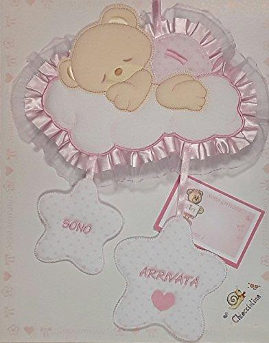 Fiocco nascita nuvola-stelle (rosa)
