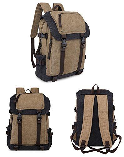 15,6 Zoll Canvas Notebooktasche Laptop-Tasche Rücksack Passend für bis zu 15,6 Gaming Laptops für Dell, Asus, MSI Gaming Rücksack Bergsteigen Tasche( Gelb) Braun und Schwarz