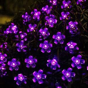 Innoo Tech Solar Fairy Lights String 50 Led Garden Flower Blossom for Outdoor,Patio,Party,Christmas Tree-Purple