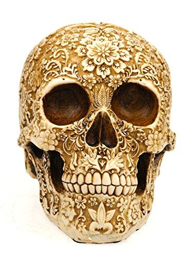 Voodoo Schädel, reich verziert und geschnitzt, La Catrina, aus Kunststein
