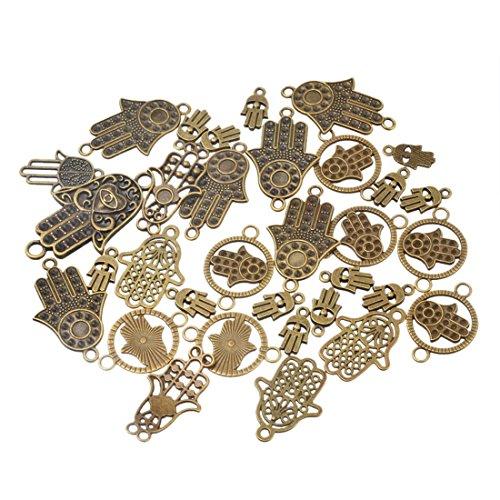 Souarts 1 Set Bronzefarbe Fatima Hand Schmuckzubehör Basteln Charms Anhänger Für Halskette Armband 20St (20 Anhänger Halskette)
