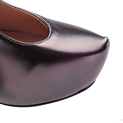 VogueZone009 Damen Blend-Materialien Rund Hoher Absatz Zehe Schnalle Rein Pumps Schuhe Grau