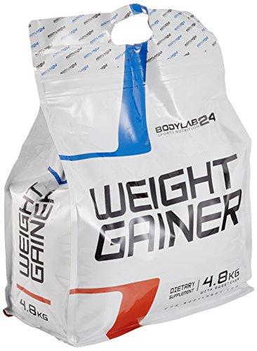 Bodylab24 Weight Gainer Banane, ideales Verhältnis aus Kohlenhydraten und Eiweiß, über 1000kcal je Portion, 5kg
