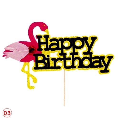 Zhuotop Rose Flamingo gâteau Joyeux anniversaire pour gâteaux de fête Wddding Décor