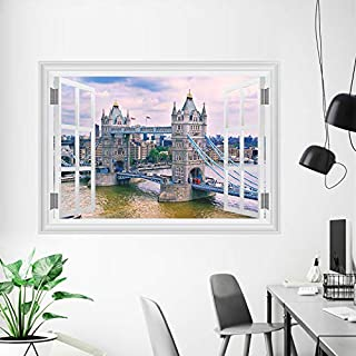 England London Tower Bridge Wall Stickers Home Decor Living Room 3D Window Architectural Landscape Wall Decals Art Mural Posters