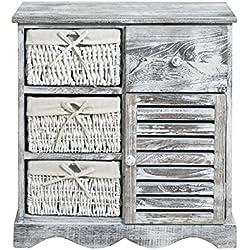 Diseño blanco y gris mesita de noche armario de baño de cocina madera blanca vintage (Cod. 0-1170)