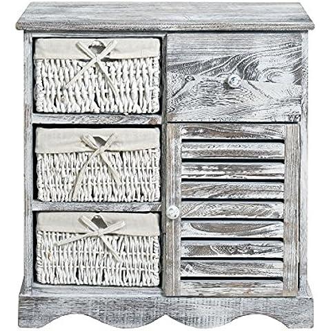 Diseño blanco y gris mesita de noche armario de baño de cocina madera blanca vintage (Cod.