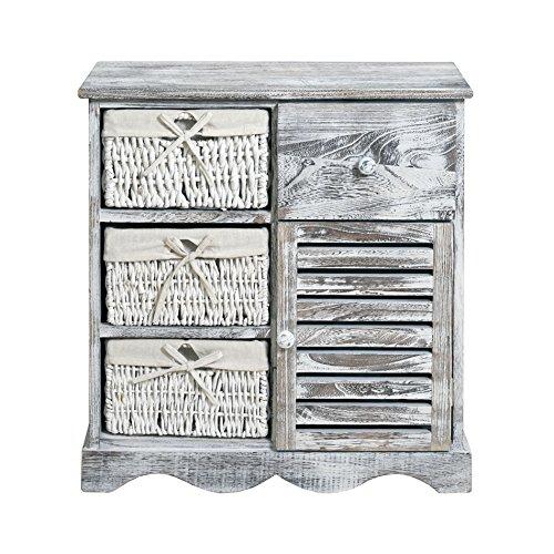 mobili rebecca® comodino cassettiera mobile bagno 4 cassetti 1 ... - Cassettiera Bagno In Vimini