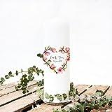 ilka parey wandtattoo-welt Hochzeitskerze Kerze zur Hochzeit Trauung Traukerze mit Magnolie Blumenherz Wunschnamen & Datum wk50