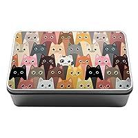 Duke Gifts Cartoon cats cute pattern kitty lover Metal Storage Tin Box 136