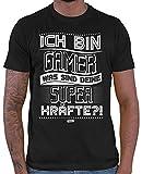HARIZ  Herren T-Shirt Gamer Superkräfte Gamer Gaming Fun Retro Nerd Geburtstag Plus Geschenkkarte Schwarz L