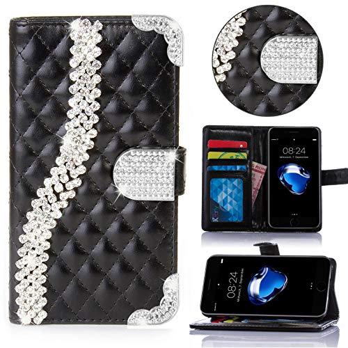 numerva LG G2 Hülle, Strass Schutzhülle [Bling Case, Standfunktion, Kartenfach] PU Leder Tasche für LG G2 Handytasche Cover [Schwarz]