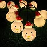 LEDMOMO 1,8 m Schneemann Lichterketten LED Batteriebetrieben Licht Schnur Dekorative Leuchten Außen Innen Weihnachtsbeleuchtung (Warmweiß)