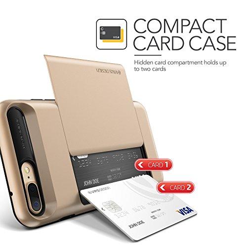 iPhone 7 Plus Hülle, VRS Design [Damda Glide Serie] Semi-Automatisch Kartenfach mit Militärischer Schutz für Apple iPhone 7 Plus 2016 - Schwarz Gold