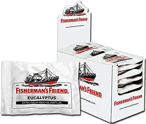 Fishermans Friend Pastillen (Fisherman's Friend Eucalyptus | Karton mit 24 Beuteln | Menthol und Eukalyptus Geschmack | Mit Zucker | Für frischen Atem)