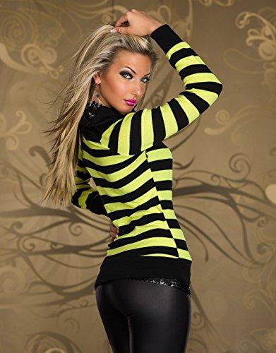 Pull manches longues à rayures pour femmes Sexy pour femme à manches longues Taille unique 6, 8, 10, 12–EU 34, 36, 38, 40 noir/jaune