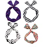 Lot de 4paquets mignon câblées Arc Twist Bandeau autour du Lapin d'oreille bowknot bandeau cravate ruban cheveux accessoires rigide pour femme fille