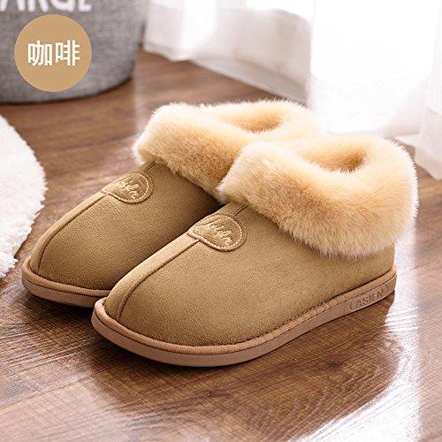 DogHaccd pantofole,In autunno e in inverno, pantofole di cotone femmina pacchetto spessa con anti-slittamento minimalista caldo indoor Home Home Il cotone pantofole inverno gli amanti Brown1