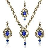 Antique jewelry blue kundan like work ne...