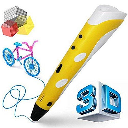 3D Stift Set, 3D Drucker Stift, 3D Druckstift mit 3 Farben 3m/ Farbe PLA Filament 3D Pen für Kinder, Erwachsene, Kritzelei, Zeichnung, Kunst & handgefertigte Werke (Gelb)