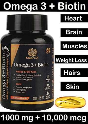 Clearcut Omega 3, Biotin 1000 mg & 10000 mcg Enteric Coated Capsules - 60 Capsules