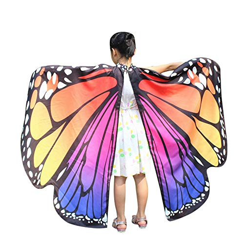 WOZOW Damen Schmetterling Kostüm Fasching Schals Nymphe Pixie Poncho Umhang für Party Cosplay Karneval Fasching (Heißes Rosa)
