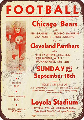 PotteLove 1932 Chicago Bears Vintage Reproduktion Metallschild 20 x 12 cm