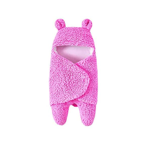 Newborn Baby Sleeping Bag Boys Girls Cute Cotton Plush Receiving Blanket Wrap Swaddle Warm Receiving Blanket Sleep Sack Stroller Wrap for Baby Photography Props Bath Towel 2