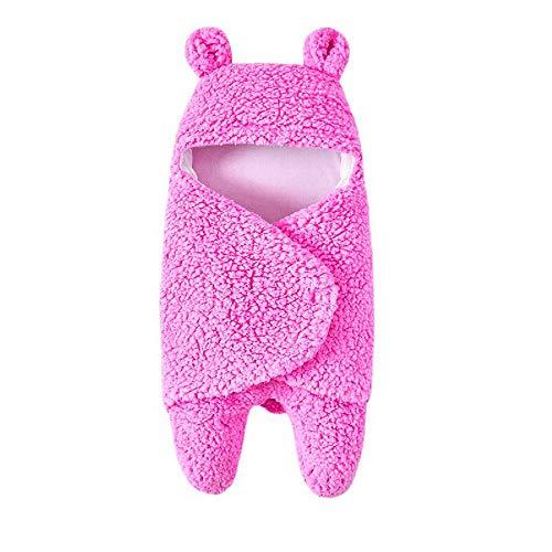 Baby Schlafsäcke Winter Swaddle Decke Pyjamas Kleid Wickel Mit Kapuze Kinder schlafen Sack Kinderwagen Wrap für Neugeborenes 0-12 Monate XXYsm (Heiß rosa, 0-12 Monate)
