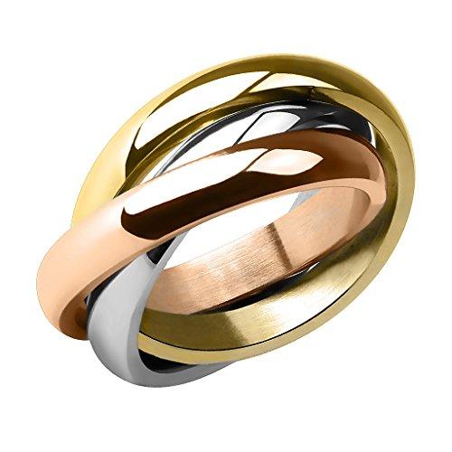 Piersando Damen Ring Edelstahl Dreifach Dreier Partnerring Ehering Bandring Trauring Damenring Silber Rosegold Gold Größe 54 (17.2)