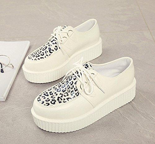 Damen Schnürhalbschuhe mit dicken Sohlen Anti-Rutsch Bequeme Atmungsaktive Modische Lässige Flache Damen Freizeit Halbschuhe Weiß,Leopard