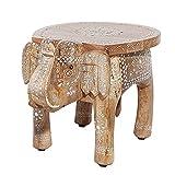Invicta Interior Einzigartiger Hocker Elefant MAURITIUS 50cm natur orientalisches Design Handarbeit Mangoholz Massivholz handgeschnitzt Beistelltisch
